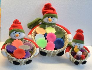 """Snowman"" melts in a basket. Available in 3 sizes"